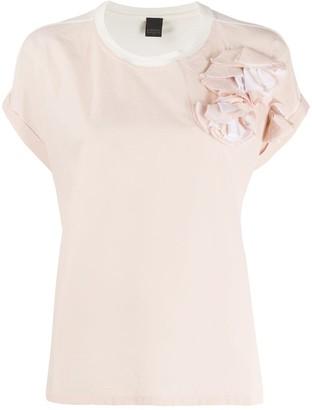 Lorena Antoniazzi rosette-embellished panelled T-shirt