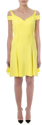 Versace Off-shoulder Yellow Crepe Dress