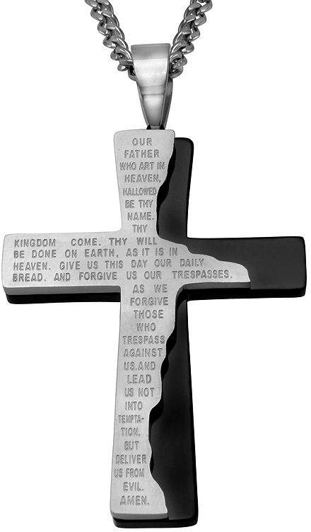 JCPenney FINE JEWELRY Mens Lord's Prayer Two-Tone Stainless Steel Cross Pendant Necklace