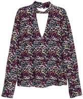 H&M CrÃaped Blouse - Black/small floral - Ladies