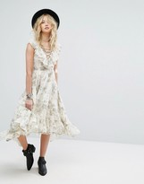 Denim & Supply By Ralph Lauren Printed Dress With Lace-Up And Ruffle High-Low Hem