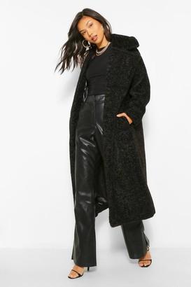 boohoo Luxe Textured Teddy Faux Fur Oversized Maxi Coat