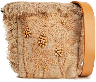 Antik Batik Barry Small Embroidered Raffia And Jute Shoulder Bag