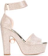 Nicholas Kirkwood glittery platform sandals - women - Calf Leather/Lurex/Leather - 35