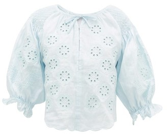 Innika Choo Oliver Daily Embroidered Linen-poplin Blouse - Womens - Light Blue