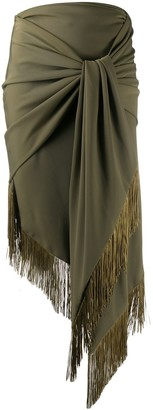 Christian Pellizzari Knot Front Fringed Skirt