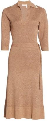 Chloé Belted Tweed Sheath Dress