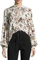 A.L.C. Ty Floral-Printed Split-Neck Silk Blouse