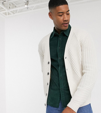 ASOS DESIGN Tall knitted cardigan with travelling rib in oatmeal