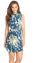 Charlie Jade Print Draped Silk Sheath Dress