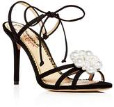 Charlotte Olympia Women's Tallulah Embellished Suede Ankle Tie High Heel Sandals