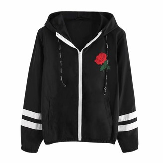 Toamen Women Womens Hoodies Coats Sale Toamen Long Sleeve Zip up Pockets Rose Embroidery Casual Thin Hooded Jumpers Sweatshirts Tops Sportswear(Black 14)