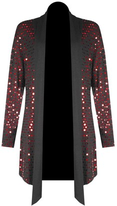 H&F Girls Womens Ladies Waterfall Open Drape Full Long Sleeve Plain Sparkling Glitter Shiny Sequins Party Night Top Shirt Dress Cardigan Truly Plus Size XL XXL XXXL XXXXL 14 16 18 20 22 24 26 28 Red