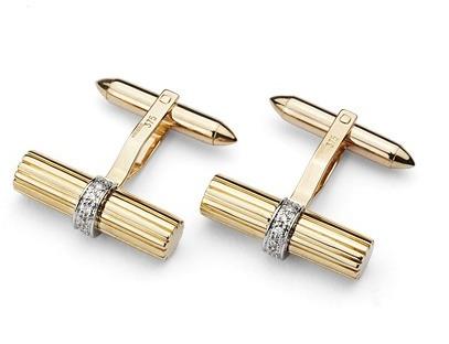 Aspinal of London Rifle Barrell Cufflinks Gemset with Cluster Diamonds