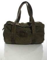 BOSS ORANGE Olive Green Canvas Leather Contrast Baguette Duffel Handbag