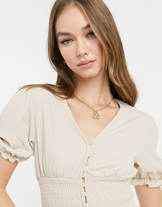 Monki Zanja button front blouse in beige
