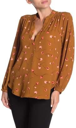 Lush Split Neck Long Sleeve Blouse