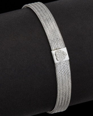 Italian Gold 14K 0.15 Ct. Tw. Diamond Soft Mesh Stretch Bangle