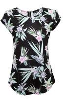 Select Fashion Fashion Womens Multi Frangipani Zip Back Tee - size 8