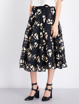Co Floral-embroidered organza midi skirt