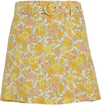 Faithfull The Brand Celia Belted Floral Linen Skort