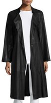 Armani Collezioni Belted Leather Trenchcoat, Black