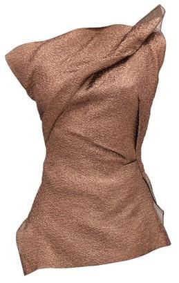 Roland Mouret Braxton Hammered-metallic One-shoulder Top - Copper