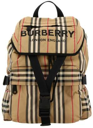 Burberry Medium Wilfin Backpack In Canvas Check And Leather With Logo Print