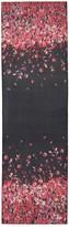 St. John Black Flamingo Degrade Floral Print Silk Georgette Scarf