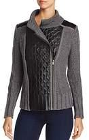 Nic+Zoe Leather Trim Sweater Moto Jacket