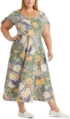 Chaps Plus Size Floral Knot-Sleeve Midi Dress