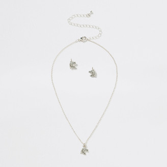 River Island Girls silver colour unicorn necklace set
