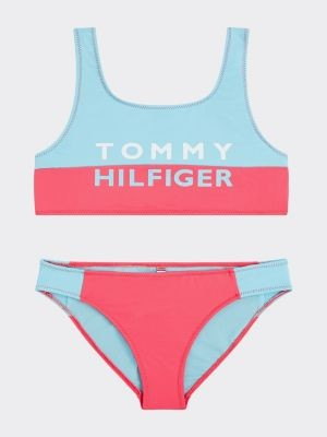 Tommy Hilfiger Colour-Blocked Logo Bralette Bikini Set