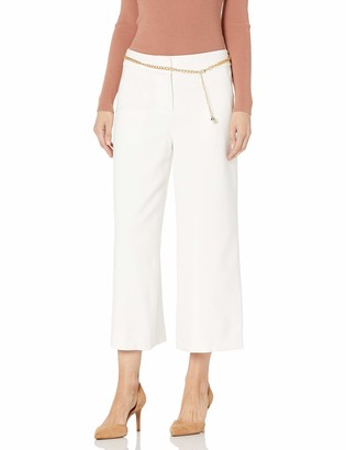 Tahari ASL Women's Petite Cropped Wide Leg Pant with Chain Belt