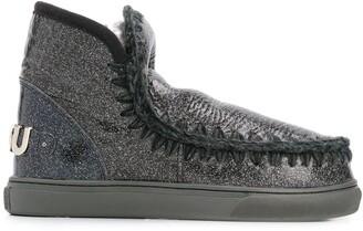 Mou Eskimo crackled metallic boots