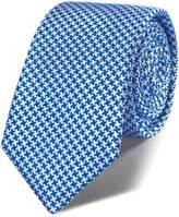 Charles Tyrwhitt Royal blue silk classic puppytooth slim tie