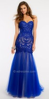La Femme Tulle Two Tone Mermaid Embroidered Prom Gown