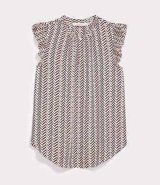 LOFT Chevron Ruffle Split Neck Top