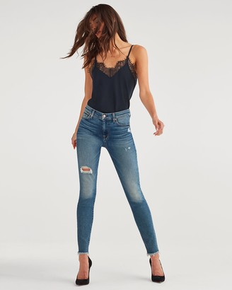 7 For All Mankind High Waist Ankle Skinny with Destroy and Fray Hem in Luxe Vintage Femme