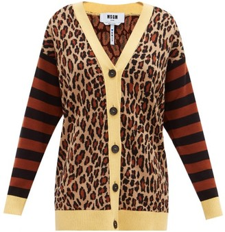MSGM Leopard-jacquard Knit Cardigan - Yellow Multi