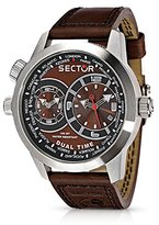 oversized watches for men shopstyle uk sector oversize men s watch dual time brown dial and brown strap r3251102055