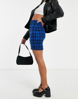New Look mini tube skirt in blue check