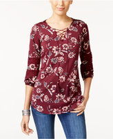 NY Collection Petite Printed Lace-Up Top