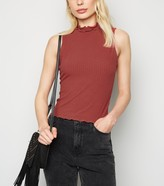 New Look Ribbed Frill High Neck Top