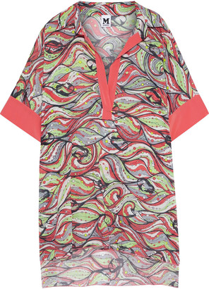 M Missoni Crepe De Chine-trimmed Printed Cotton-voile Coverup