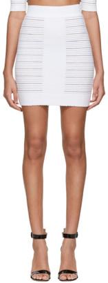 Balmain White Medical Stripe High Waisted Miniskirt