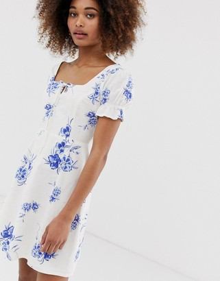 Neon Rose tea dress in floral embroidered fabric-Blue