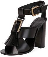 Bottega Veneta Fringe Buckle T-Strap Block-Heel Sandal, Black