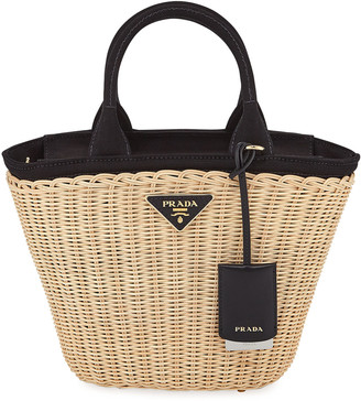 Prada Midollino Small Wicker & Canvas Tote Bag