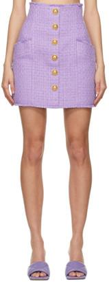 Balmain Purple Tweed Button Skirt